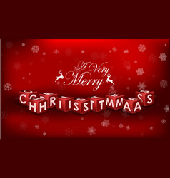 Merry christmas 3d text on red background vector
