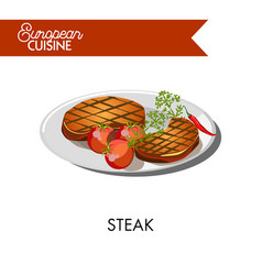 Steak with tomatoes from european cuisine isolated vector
