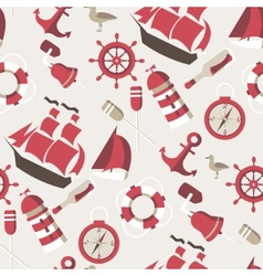 Seamless pattern on the marine theme with a ships vector