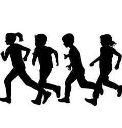 Children silhouettes running over white background vector image