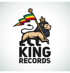 Judah lion with a rastafari flag king of zion vector