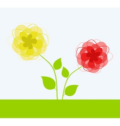 Yellow and red flower a vector illustration vector