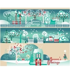 Winter banners with landscapes elements set vector