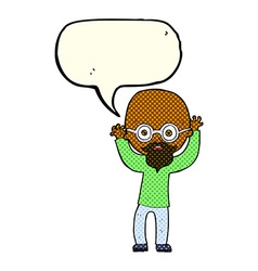 Cartoon stressed bald man with speech bubble vector