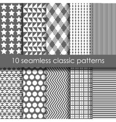 Set of 10 classic seamless geometric patterns vector image