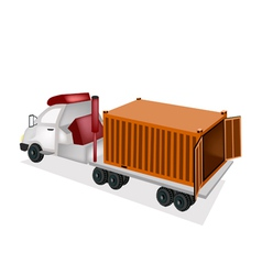 A flatbed trailer delivering a cargo container vector