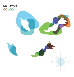 Abstract color map of malaysia vector