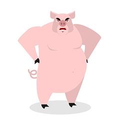 Angry pig aggressive wild boar big boar grumpy vector