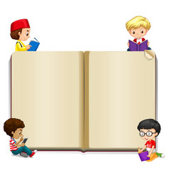 Book template with kids reading vector