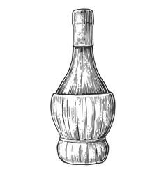 Bottle wine black vintage engraved vector