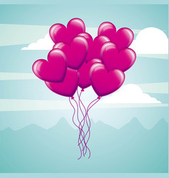 bunch balloons hearts flying in sky love vector image