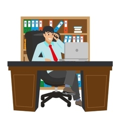 Businessman Working at Office Table Flat Design vector image