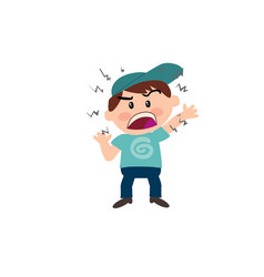 Cartoon character of a angry white boy vector