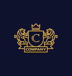 Coat of arms letter c company vector