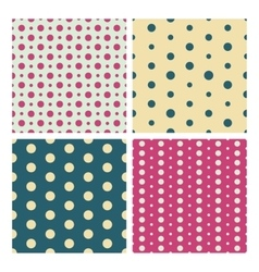 Colorful vintage dotted seamless patterns vector