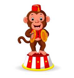 cute monkey playing percussion hand cymbals vector image