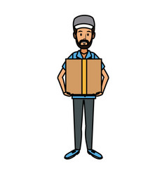 Delivery man holding box postal courier package vector