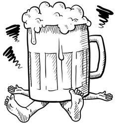 Doodle squash beer mug vector