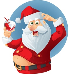 Drunk Santa Claus Cartoon vector image