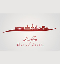 dublin ca skyline in red vector image vector image