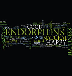 Endorphins the happy hormone text background word vector