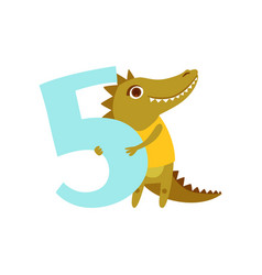 Funny cute croc animal and number five birthday vector