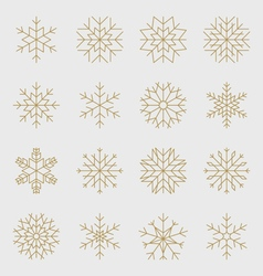 Golden snowflakes set vector image vector image