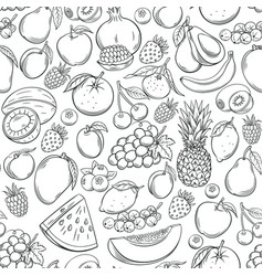 Hand drawn fruits seamless pattern vector