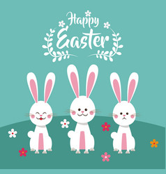 happy easter bunnies floral vector image vector image