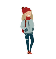 happy female teenager wearing warm clothing vector image
