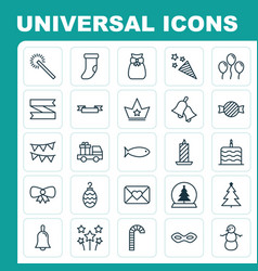 Holiday icons set collection of christmas toy vector