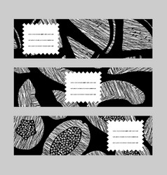 horizontal banner set monochrome melon vector image