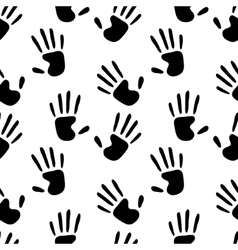 Human hands prints black and white seamless vector image vector image