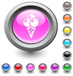 icecream round button vector image