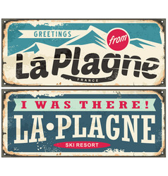 la plagne france retro souvenir signs set from one vector image