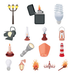 light source cartoon icons in set collection for vector image