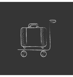 Luggage on trolley drawn in chalk icon vector
