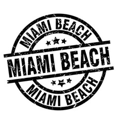 Miami beach black round grunge stamp vector