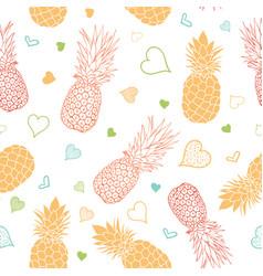 Orange green pineapples stars summer vector