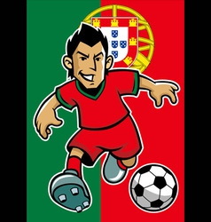 portugal soccer player with flag background vector image vector image