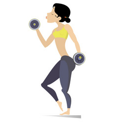 Pretty young woman does exercises with dumbbells i vector