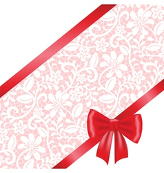 Red bow and ribbon on lace background vector image