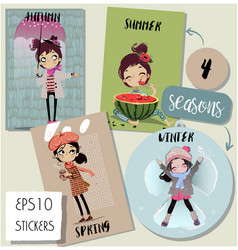 set with cute seasonal cartoon girl vector image vector image