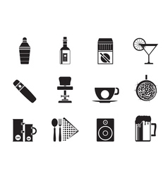 Silhouette bar and drink icons vector image vector image