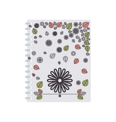 Silhouette spiral notepad with background flowers vector