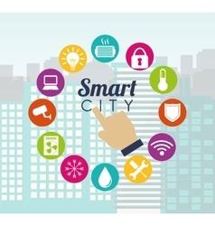 Smart city hand building app icon set vector