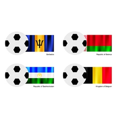 Soccer Ball of Barbados Belarus Bashkortostan vector image