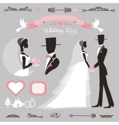 Wedding decor setretroflat silhouette bride vector