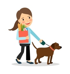 Woman with dog and bag of food vector
