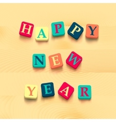Words happy new year with colorful blocks vector